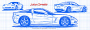 American Muscle Digital Art Prints - 2009 C6 Corvette Blueprint Print by K Scott Teeters