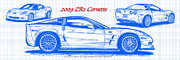 Muscle Car Prints - 2009 C6 ZR1 Corvette Blueprint Print by K Scott Teeters