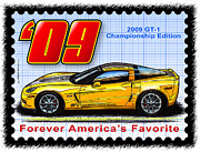 Corvette Postage Stamps Series - 2009 GT-1 Championship Edition Corvette by K Scott Teeters
