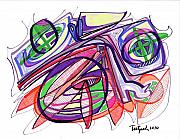 Abstract Expressionist Drawings Posters - 2010 Abstract Drawing Eleven Poster by Lynne Taetzsch