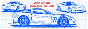 Sports Art Digital Art Posters - 2010 Corvette Grand Sport - Z06 - ZR1 Blueprint Poster by K Scott Teeters