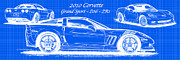 Sports Art Digital Art - 2010 Corvette Grand Sport - Z06 - ZR1 Reverse Blueprint by K Scott Teeters