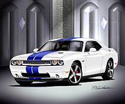Challenger Drawings - 2011 Dodge Challenger SRT8 392 -White by Danny Whitfield