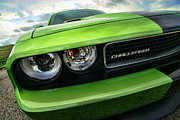 Mopar Digital Art Posters - 2011 Dodge Challenger SRT8 Green with Envy Poster by Gordon Dean II