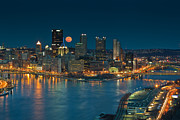 City Of Bridges Posters - 2011 Supermoon over Pittsburgh Poster by Jennifer Grover