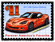 Corvette Postage Stamps Series - 2011 Z06 Carbon Edition Corvette by K Scott Teeters