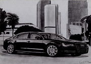Transportation Drawings Originals - 2012 Audi A8L by Radoslaw Chroscinski