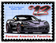 Corvette Postage Stamps Series - 2012 Centennial Edition ZR1 Corvette by K Scott Teeters