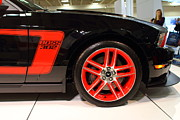 Red In Black Prints - 2012 Ford Mustang Boss 302 . 7D9667 Print by Wingsdomain Art and Photography