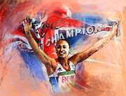 Sports Art Mixed Media - 2012 Heptathlon Olympics Gold Medal Jessica Ennis  by Miki De Goodaboom