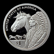 2012 Digital Art Prints - 2012 Native American One Dollar Coin Print by Randy Steele