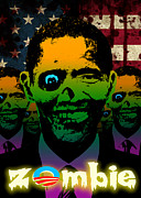 Barack Obama Digital Art Framed Prints - 2012 Obama Zombie Horde Framed Print by Robert Phelps