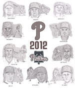 Chase Utley Drawings Framed Prints - 2012 Phightin Phils Framed Print by Chris  DelVecchio