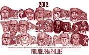 Chase Utley Art - 2012 Philadelphia Phillies by Chris  DelVecchio