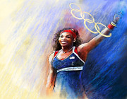 Williams Mixed Media Posters - 2012 Tennis Olympics Gold Medal Serena Williams Poster by Miki De Goodaboom