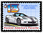 Corvette Postage Stamps Series - 2013 60th Anniversary 427 Convertible Corvette by K Scott Teeters