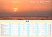 New Year Sunset Prints - 2013 Wall Calendar with Seaside Sunset Print by Yali Shi