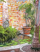 Mardi Gras Drawings - 21   French Quarter Courtyard with Reflection Pool by John Boles