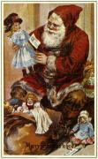 Santa Claus Prints - American Christmas Card Print by Granger
