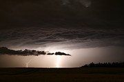 Shock Prints - Lightning Storm In Alberta, Canada Print by Zoltan Kenwell