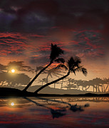 Tropical Sunset Framed Prints - 2187 Framed Print by Peter Holme III