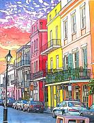 Christmas Pastels - 22  Fiery Sunset with Red and Yellow Buildings by John Boles