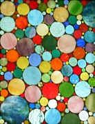Circles Glass Art Metal Prints - 220 Circles Metal Print by Donna Moore