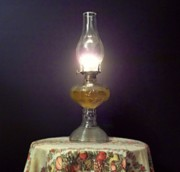 Hurricane Lamp Photos - 2257 - Antique Kerosen Lamp At Dawn  by David Meier