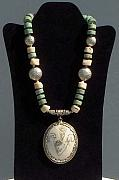 Antique Jewelry - Antique Carved Tibetan Pendant Necklace by Eleanor Love