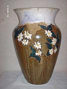 Carved Ceramics - Stonewear dogwood floor vase by The Joppa Crew