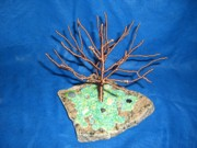 Granite Sculptures - 24 gauge copper Wire Tree by the Beach by Serendipity Pastiche