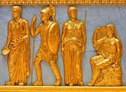 24 Kt. Gold Greek Figures Print by Linda Phelps