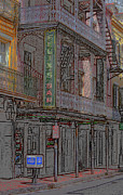 American City Mixed Media Prints - New Orleans - Bourbon Street Print by Frank Romeo