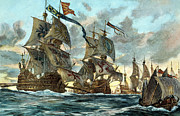 Warship Prints - Spanish Armada (1588) Print by Granger