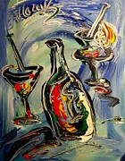 Landscape Framed Prints Mixed Media Posters - Wine Poster by Mark Kazav