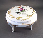 Flower Ceramics Originals - 246 Footed box Dresden Style and gold by Wilma Manhardt