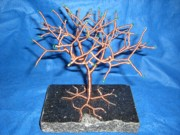 Granite Sculptures - 24g copper Wire Tree on a Black Marble or Granite Slab by Serendipity Pastiche