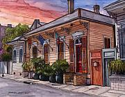 New Drawings - 25  French Quarter House with 3 Flags by John Boles