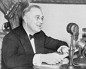 Microphones Prints - President Franklin D. Roosevelt Print by Everett