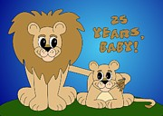 Cartoon  Lion Digital Art - 25 Years Baby - Happy Anniversary by Cindy Johns