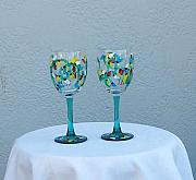 Featured Glass Art - Colorful Holiday Wine Glasses by Lois Niesen