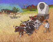 Cattle Pastels Framed Prints - 25th Anniversary Santa Fe Trail Association Framed Print by Tracy L Teeter