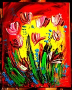Pop Art Prints Painting Originals - Tulips by Mark Kazav
