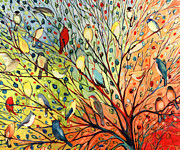Peach Painting Prints - 27 Birds Print by Jennifer Lommers