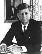 Democratic Party Prints - John F Kennedy (1917-1963) Print by Granger