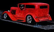 Hotrod Drawings Posters - 28 Dodge Sedan Poster by Beau Van Sickle