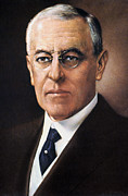 Democratic Party Prints - Woodrow Wilson (1856-1924) Print by Granger