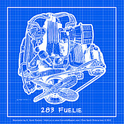 Corvette Engine Blueprints - 283 Corvette Fuelie Reverse Blueprint by K Scott Teeters