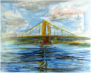Bridge Drawings Framed Prints - RCNpaintings.com Framed Print by Chris N Rohrbach