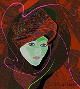 Young Lady Digital Art Prints - 289 - Anna  with  dark red cap Print by Irmgard Schoendorf Welch
